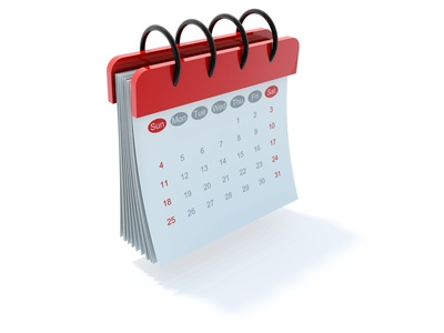 Red calendar icon isolated on white
