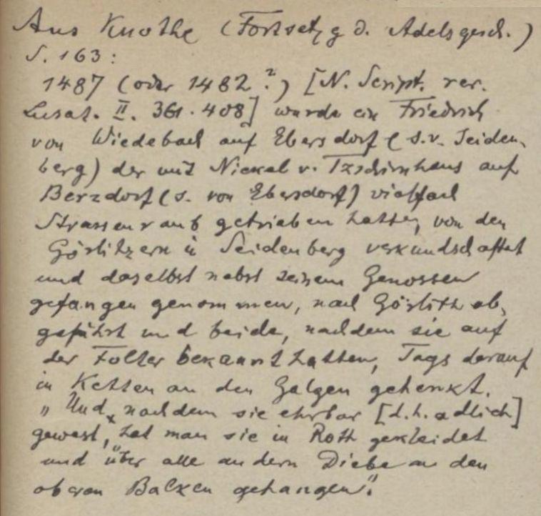 Auszug aus der Adelsgeschichte von Tschirnhaus